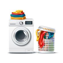 Realistic Washing Machine With...