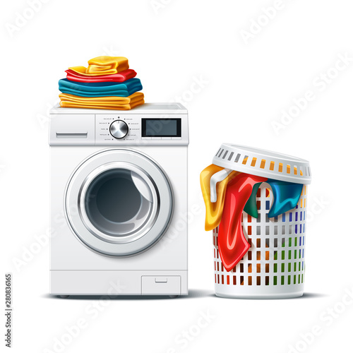 Realistic washing machine with fresh clean folded clothing and laundry basket with dirty cloth Fototapet