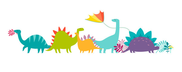 Dinosaurus party doodle hand drawn vector illustration. Cute dinos illustrations set. Happy T-rex character cartoon card isolated on white background