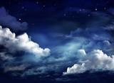 Nocne niebo z chmurami. Wszechświat pełen gwiazd - 280838560