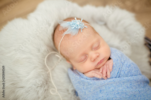 Fototapeta Perfect newborn baby girl in blue blanket in a wicker basket decorated with branches of spring cherry blossoms obraz na płótnie