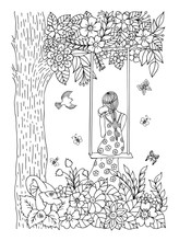 Vector Illustration Zentangl. Girl On A Swing Under A Tree With A Puppy In Her Arms. Coloring Book. Anti-stress For Adults And Children. The Work Is Done In Manual Mode. Black And White.