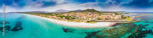 Graniro beach and La Caletta town, Sardinia, Italy, Europe.