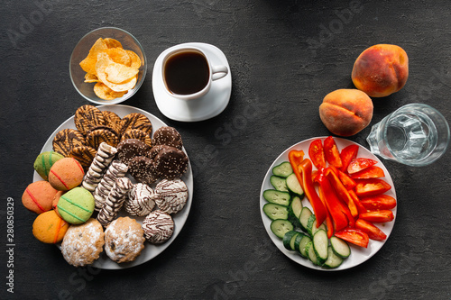 Obraz na płótnie Obesity prevention, conscious eating, nutrition choices, mindfulness and healthy lifestyle