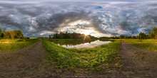 Full Seamless Spherical Hdri Panorama 360 Degrees Angle View On The Shore Of Lake In Evening Before Storm With Black Clouds In Equirectangular Projection, Ready VR Virtual Reality Content