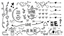Cartoon Pictures Set Of Different Hand Drawn Arrows And Love Details. Mixed Style White And Black Flat Icons. Vector Illustration. White Background