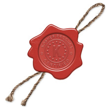 Red Wax Seal (stamp) With Signs Inside - Kosher Product. Certified. The Sign Means Also Kosher In Hebrew. Isolated On A White Background. Illustration Without Reference