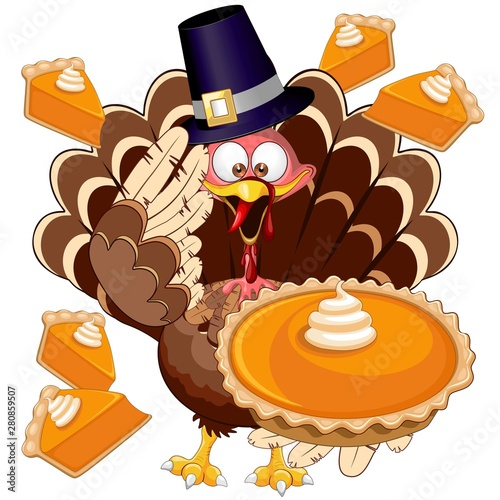 Poster de jardin Draw Turkey Happy Thanksgiving Character with Pumpkin Pie Vector Illustration