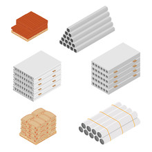 Building And Construction Materials Vector Icon Set Isometric View Isolated On White Background.