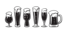 Set Of Different Types Of Beer Glasses. Hand Drawn Vector Illustration On White Background.