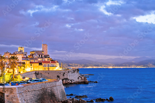 Staande foto Mediterraans Europa Antibes historic old town seafront and landmarks dawn view