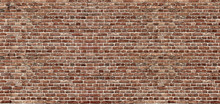 Brick Texture. Panoramic Background Of Wide Old Red Brick Wall Texture. Home Or Office Design Backdrop