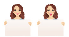 Beautiful Smiling Excited Woman Holding Empty Blank Board Isolated Vector Illustration