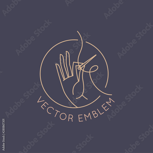 Obraz na płótnie Vector logo design template in linear style - handmade embroidery and fashion