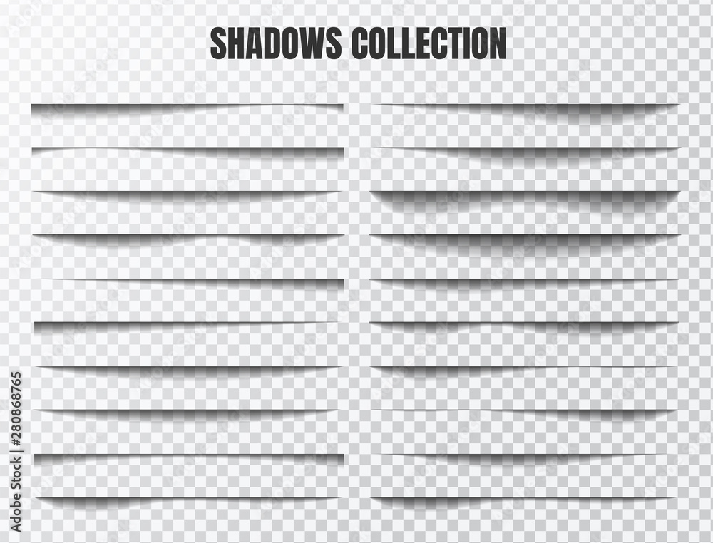 Fototapeta Realistic shadow effect vector set Separate components on a transparent background