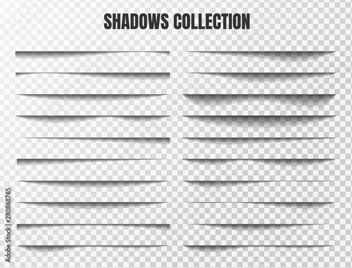 Obraz Realistic shadow effect vector set Separate components on a transparent background - fototapety do salonu