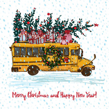Festive Christmas Card. Yellow School Bus With Fir Tree Decorated Red Balls And Gifts On Roof. White Snowy Seamless Background And Text Merry Christmas.