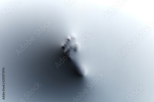 Foot of man who standing on glass. close up photo. piece of evidence. clue of crime. new step in business. discoverer. black and white photo - 280871996