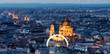 Panoramic, Budapest city skyline and St. Stephen's Basilica in twilight
