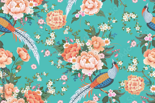 Canvas Print Beautiful seamless pattern with diamond pheasant sitting on peony branch with bl
