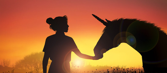 unicorn and girl at sunset