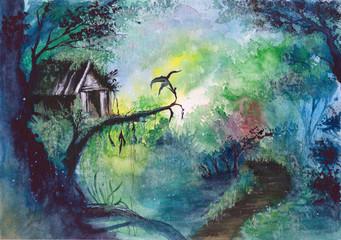 Watercolor picture of a fa...