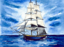 Watercolor Picture Of A Tall Ship  In The Blue Water With White Clouds And Aquamarine Ocean Waves