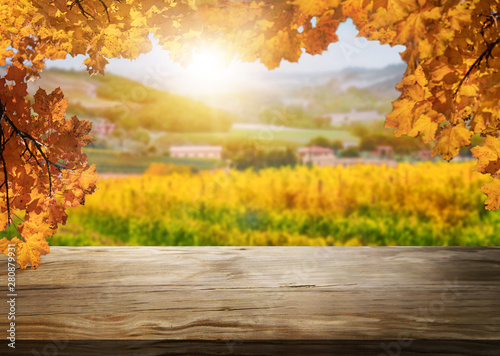 Foto auf Leinwand Orange Brown wood table in autumn vineyard landscape with empty copy space on the table for product display mockup. Winery and wine tasting concept.