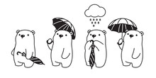 Bear Vector Icon Polar Bear Umbrella Rain Cartoon Character Logo Illustration Doodle Design