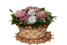 Festive Mini Bouquet In A Wicker Basket On A White Background