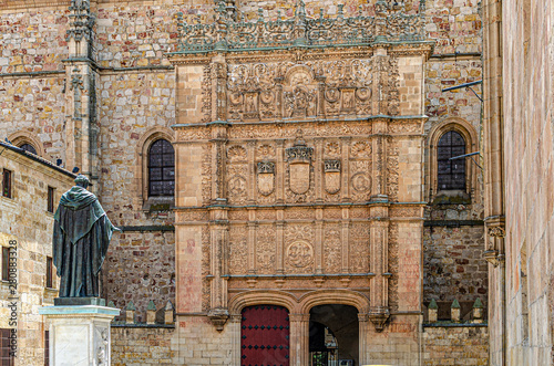 Main entrance to the University of Salamanca middle age. Spain