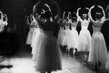Corps De Ballet Rehearsal In Stage Ballet Performance Costumes In The Theater