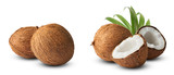 Set with Fresh raw coconut with palm leaves isolated on white background.