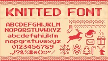 Winter Sweater Font. Knitted Christmas Sweaters Letters, Knit Jumper Xmas Pattern And Ugly Sweater Knits. Norwegian Holiday Knit Sweater Abc And Number, New Year Jumper Vector Illustration Signs Set