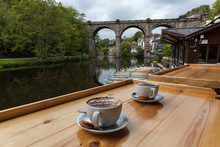 Knaresborough Viaduct With Two Beautiful Cups Of Coffee In The Foreground