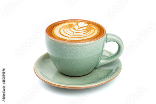 Leinwand Poster Side view of hot latte coffee with latte art in a ceramic green cup and saucer isolated on white background with clipping path inside