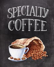 Lettering Specialty Coffee On Black Chalkboard Background With Hand Drawn Coffee Beans And Cup. Food Illustration.
