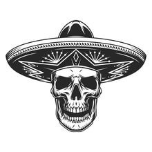 Skull In Mexican Sombrero Hat
