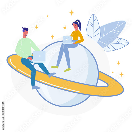 Astronomers Coworking Flat Vector Illustration Fototapet