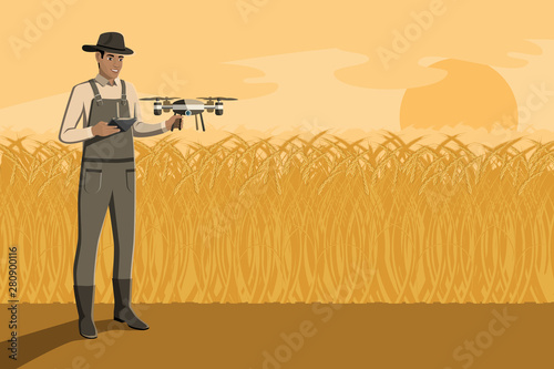 Aufkleber - Black african american farmer with remote controller control drone on a wheat field. Digital transformation in agriculture and smart farming. Vector illustration EPS10