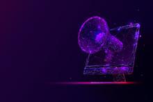 Purple Online Digital Marketing Low Poly Wireframe Illustration