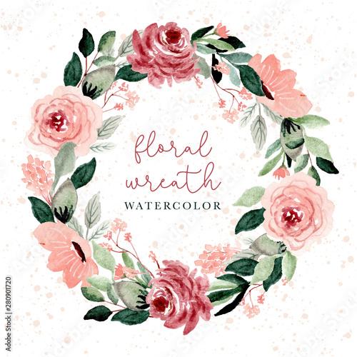 Fényképezés  blush and green floral watercolor wreath
