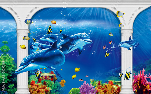 3d-illustration-wallpaper-under-sea-dolphin-fish-tortoise-coral-reefsand-water-with-broken-wall-bricks-background-will-visually-expand-the-space-in-a-small-room-bring-more-light-and-become-an-ac