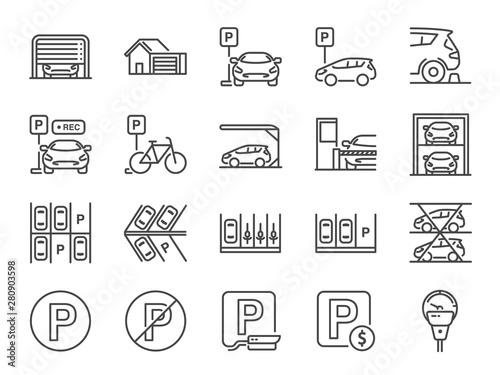 Fototapeta Parking line icon set