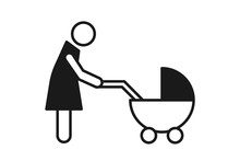 Mom With Baby Stroller Icon