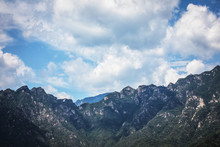 Great Wall Of China In Summer Landscape With Beautiful Sky.