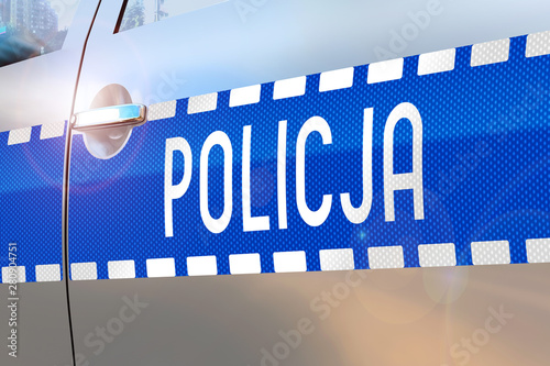 Police car door - accident/ crime news/ breaking news (Policja - Polish/ Police - English) - 280904751