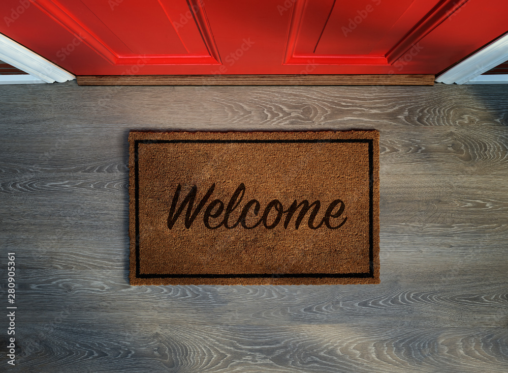 Fototapety, obrazy: Overhead view of welcome mat outside inviting front door of house