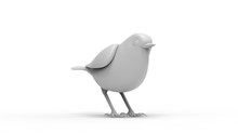 3d Rendering Of A Computer Model Bird Isolated In White Background
