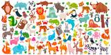 Fototapeta Fototapety na ścianę do pokoju dziecięcego - Big set of cute cartoon animals. Vector illustration.